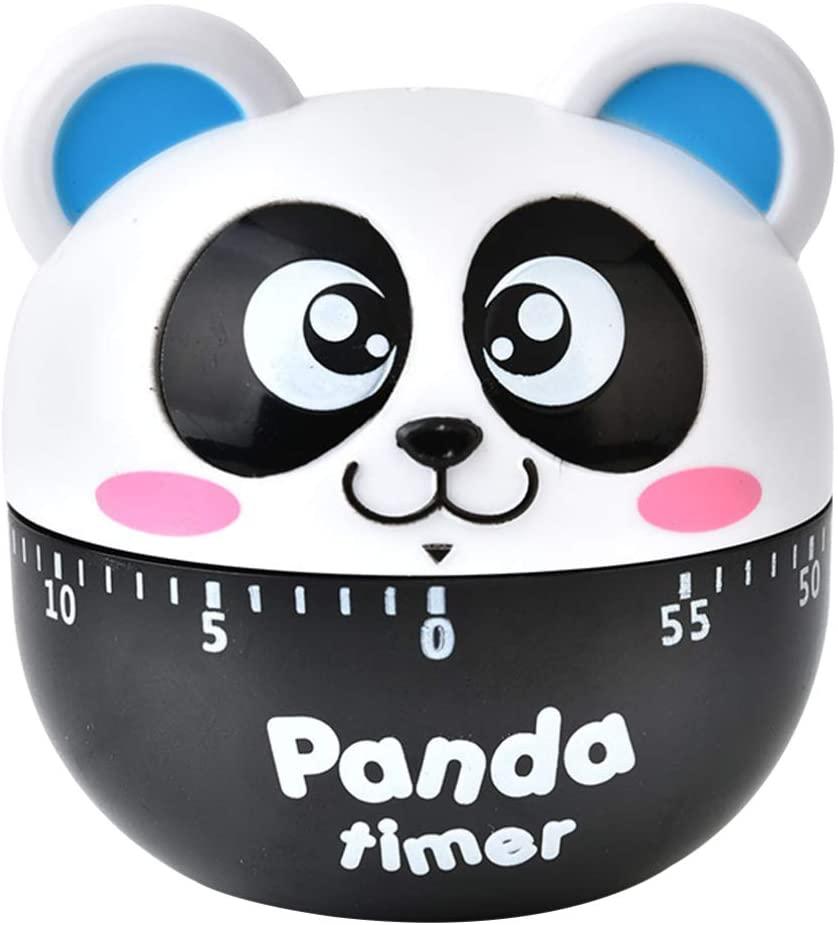 Yardwe Kitchen Timer Panda Shaped Cooking Timer Reminder 60-Minute Mechanical Countdown Clock Time Management for Home Kitchen (Blue)