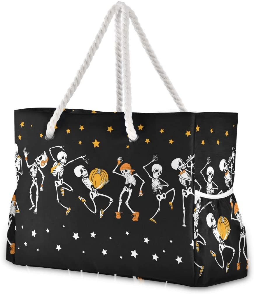 ALAZA Cute Skull Pumpkin Star Large Beach Bag For Women Tote Bags Reusable Grocery Shoulder Bag with Zipper Pocket