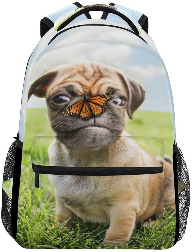 ALAZA Cute Pug Dog Durable Backpack Book College School Travel Backbag Shoulder Bag for Women Girls Men Boys