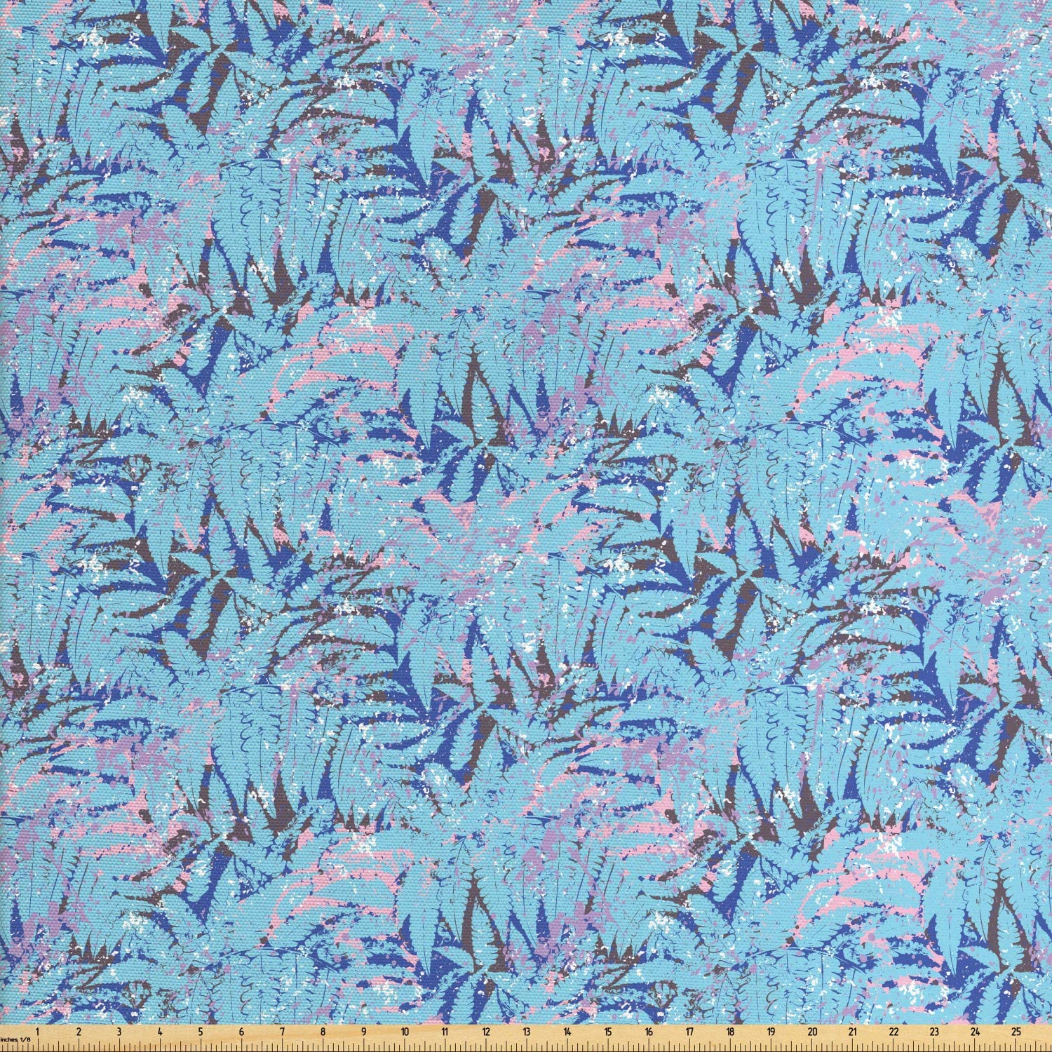 Ambesonne Natural Color Fabric by The Yard, Tropical Pattern with Exotic Leaves and Grunge Paint Splashes, Decorative Fabric for Upholstery and Home Accents, 1 Yard, Pale Sky Blue Multicolor