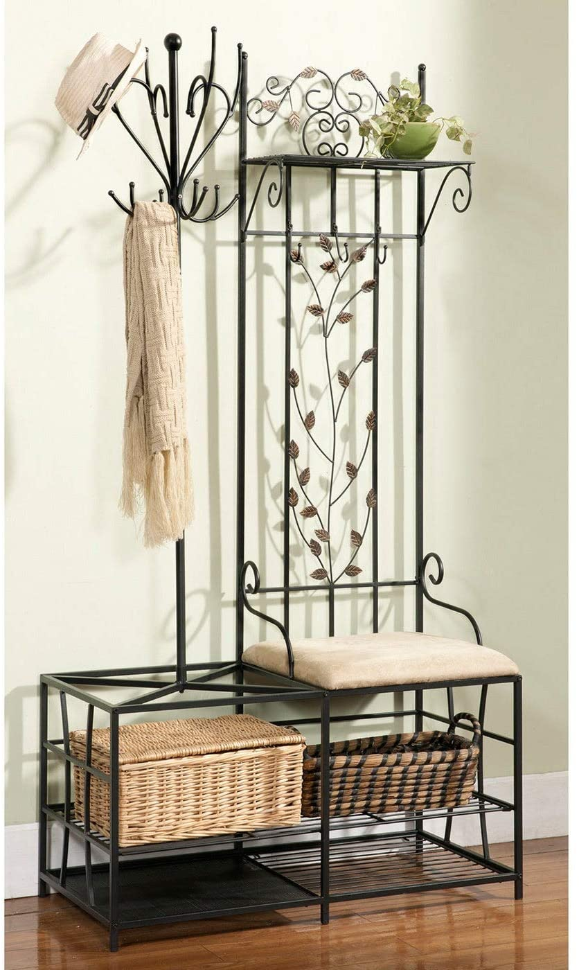 Metal Half-Tree Design Coat Rack and Bench with Storage Black Solid Rustic Traditional Copper Finish Backed