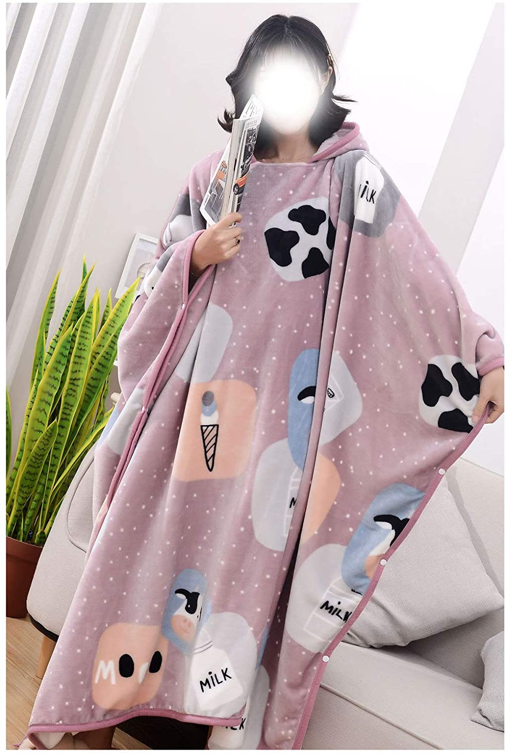 SUTECO Wearable Fleece Blanket Flannel Fleece Cloak Blanket Hoodie, Super Soft, Lightweight, Cozy and Fashion Hooded Blanket for Women One Size Fits All Wrap Robe