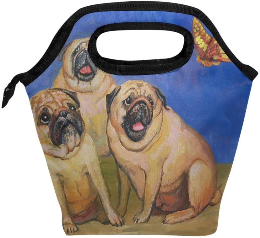 ALAZA Three Pug Dogs Saw Butterfly Lunch Bags Insulated Cooler Lunch Box Tote Handbag Food Bag for Women Men School Work Picnic