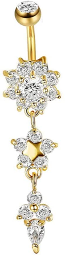 YuFanKits Belly Button Navel Ring Lady Rhinestone Flower Stainless Steel Piercing Jewelry for Summer Beach, Swimming Pool Party Golden Drill