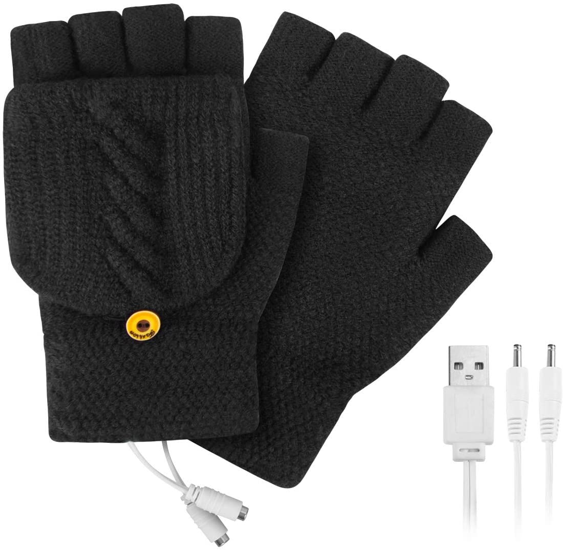 USB Heated Gloves, Winter Warm Knitted Gloves Mitten with Finger Cover for Men and Women, Hands Warmer Laptop Gloves
