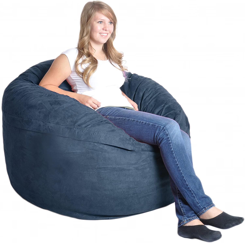 SLACKER sack 4-Feet Microfiber Microsuede Beanbag Chair, Navy