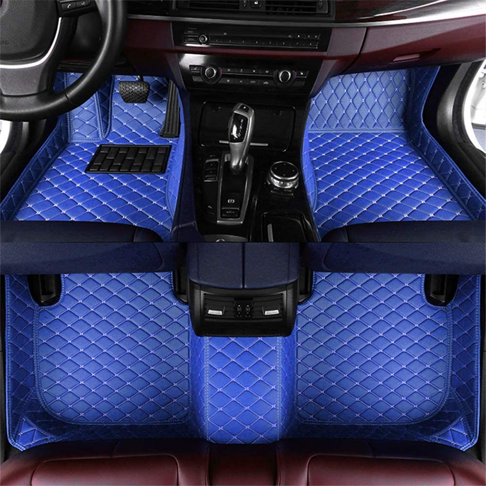 Muchkey car Floor Mats fit for Dedicated Custom Style Luxury Leather All Weather Protection Floor Liners Full car Floor Mats Blue