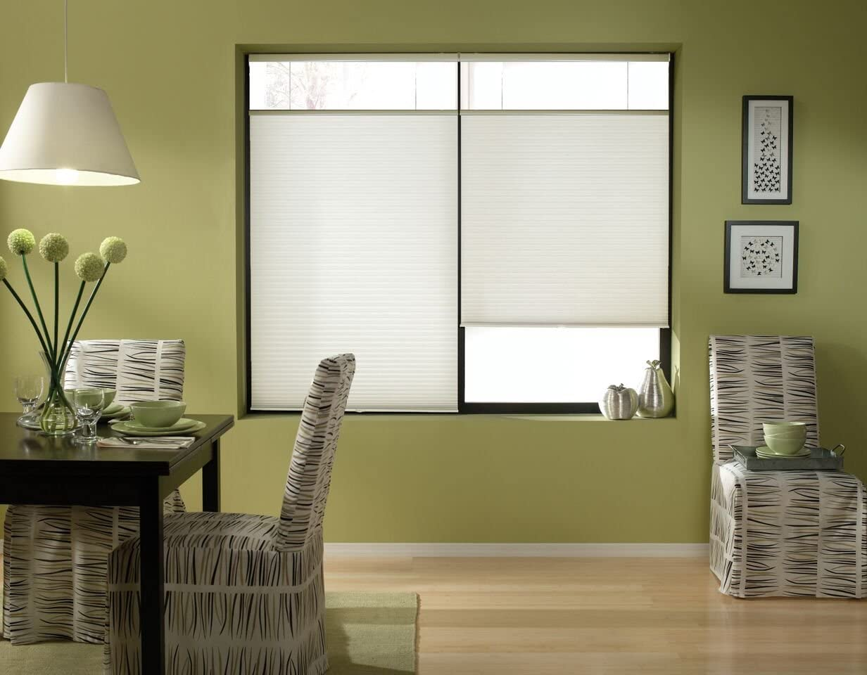 Windowsandgarden Cordless Top Down Bottom Up Cellular Honeycomb Shades, 24W x 36H, White, Sizes 18-38 Wide