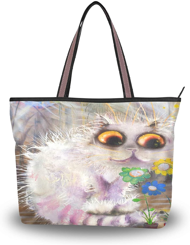 Women Handbag Cat Flowers Tote Top Handle Shoulder Bag for School Travel Work Shopping (Large)
