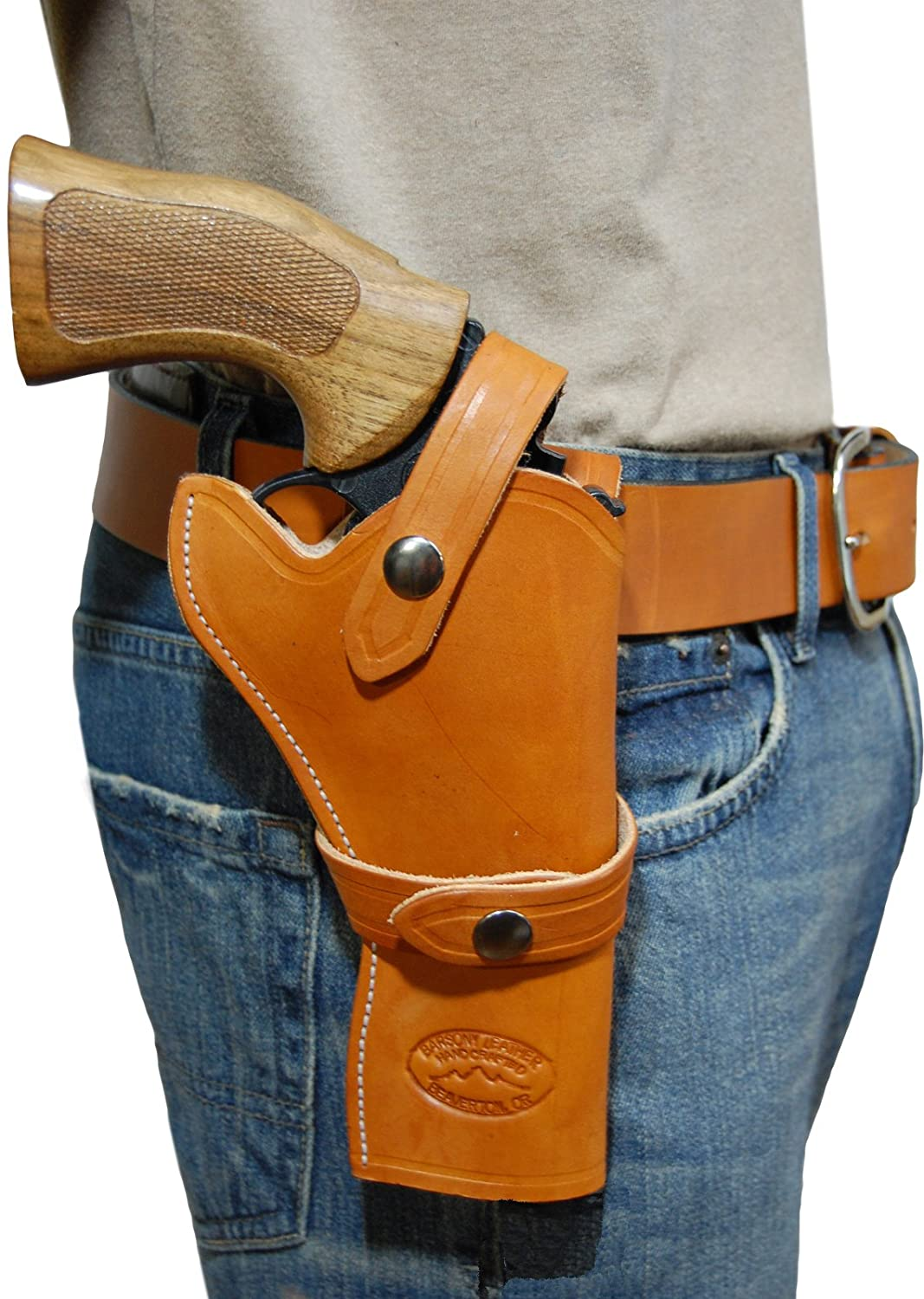 Barsony New Tan Leather Western Style Gun Holster for 4 inch Revolvers