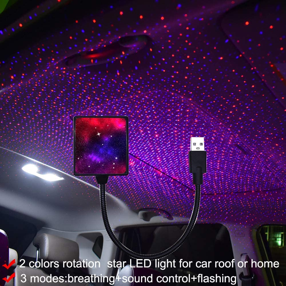 USB Star Light Sound Activated, Auto rotating,2 Colors + 3 Functional Modes, Car Ceiling Interior Light, Romantic USB Night Light Decorations for Home Car Room Party Ceiling,Plug and Play (red+blue)