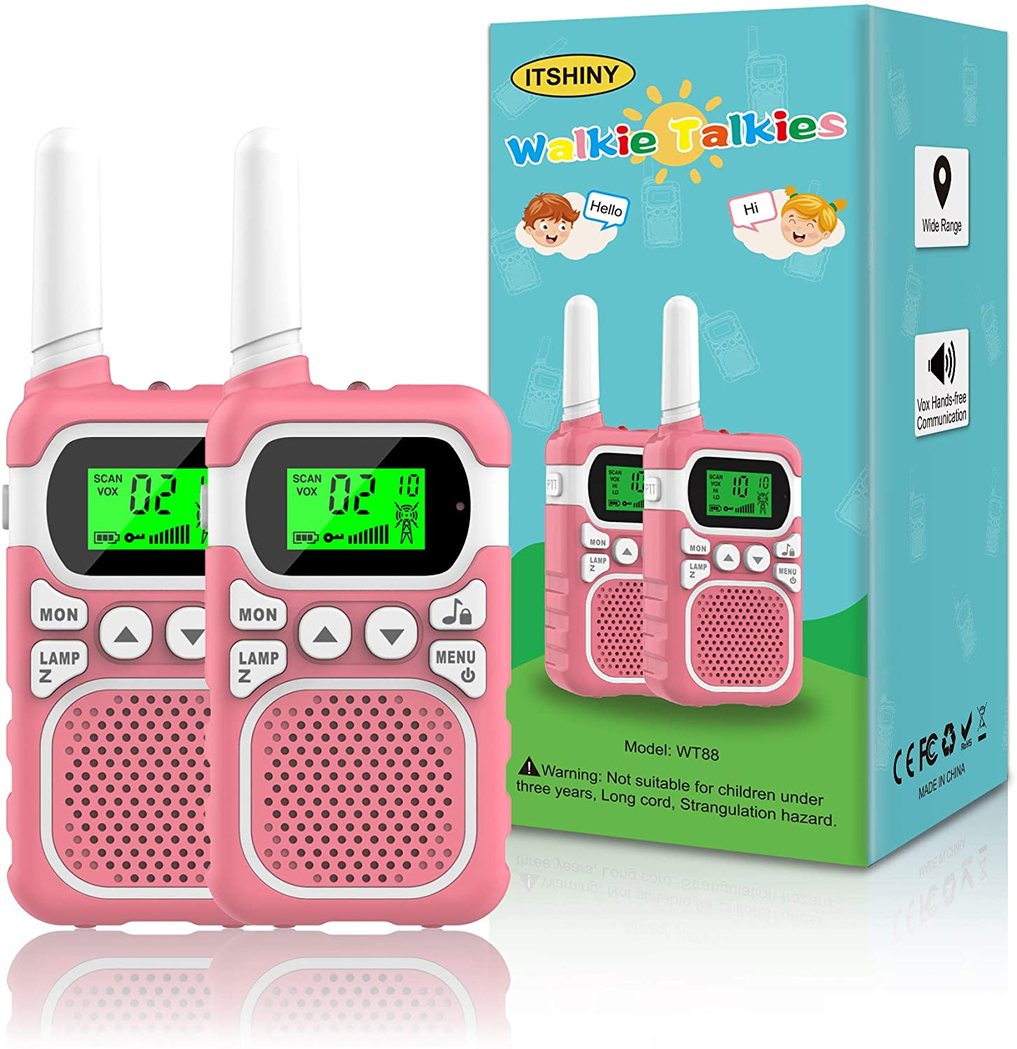 ITSHINY Kids Walkie Talkies, Walkie Talkies with 22 Channels & 3 Mile Range for Outdoor Hiking Camping Children Toy Gifts for 3-12 Year Old Boys Girls -Pink