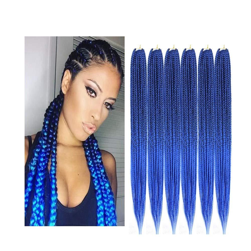 "14/18/24/30"" Crochet 3X Box Hair Braids Crochet braid Hair Synthetic Braiding Hair Extensions 6pcs/pack (30"", T1B/blue)"