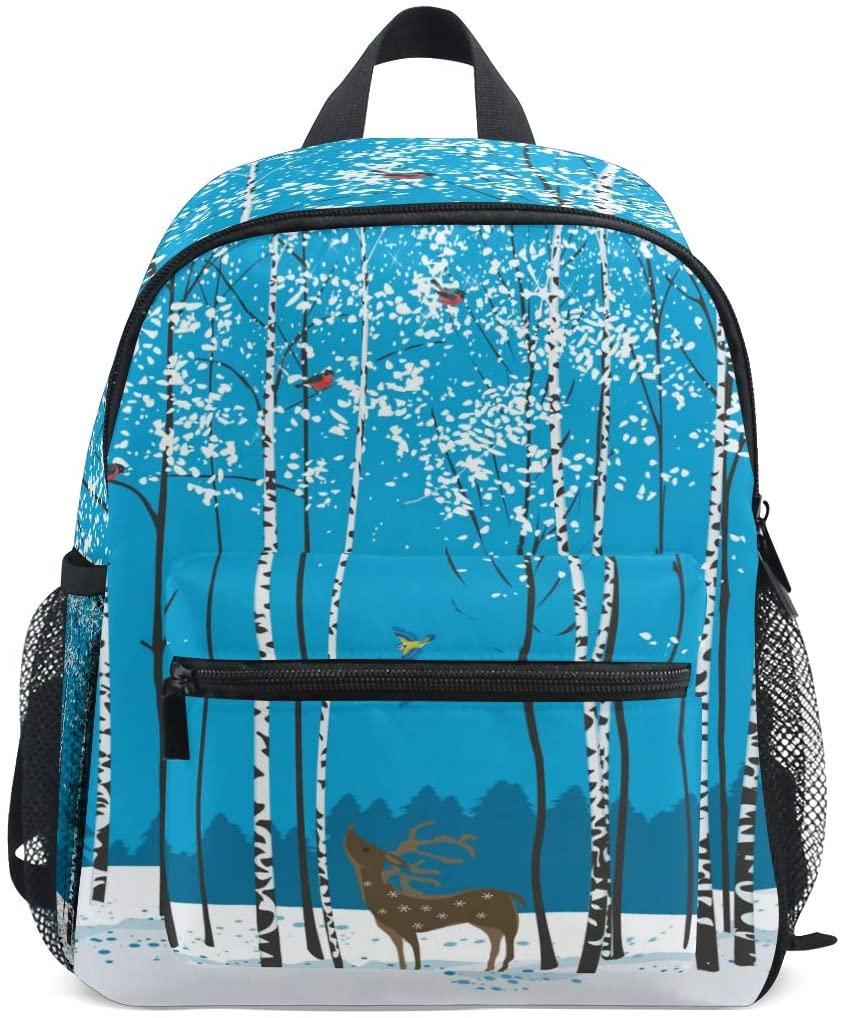 OREZI Toddler Backpack,Winter Tree Animal Giraffe Bird Preschool Bag Travel Snack and Toy Bacpack Christmas Gift for Children