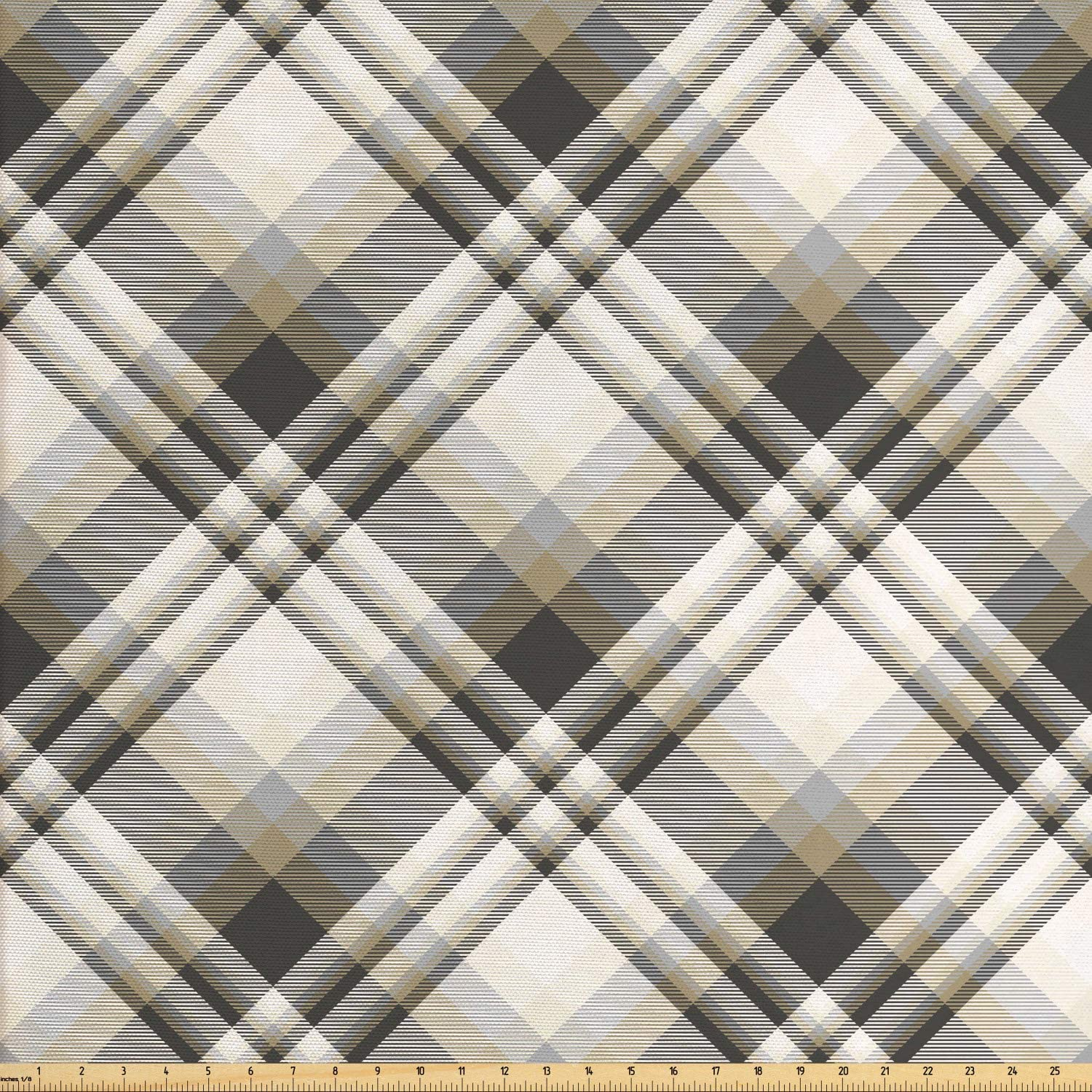 Lunarable Grey Plaid Fabric by The Yard, Diagonal Symmetrical Stripes Simplistic Illustration, Decorative Fabric for Upholstery and Home Accents, 3 Yards, Dark Tan Charcoal Grey