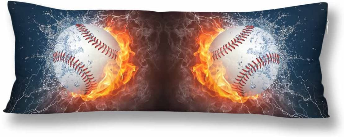 InterestPrint Baseball Ball in Fire and Water Body Pillow Covers Pillowcase with Zipper 21x60 Twin Sides, Baseball Ball Sport Game Rectangle Body Pillow Case Protector for Home Bedding Decorative