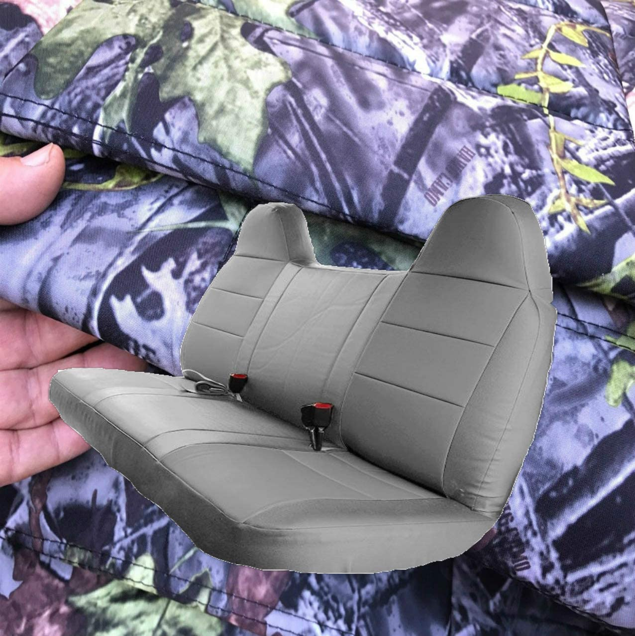 RealSeatCovers 3 Layer for 1992-2010 Ford F-Series F150 - F550 Pickup Truck Front Solid Bench 10mm Thick F23 High Back Belt Cut Out Custom Made Fit (Camo)