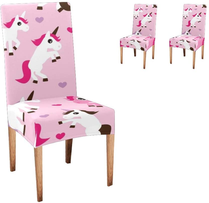 CUXWEOT Chair Covers for Dining Room Funny Unicorn Pink Seat Covers Slipcovers for Party Decor (Set of 2)