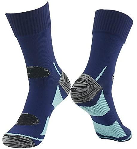 RANDY SUN 100% Waterproof Breathable Socks, Mens Climbing DryCool Cushion Hiking/Performance Socks Navy Blue&Light Blue Size Large