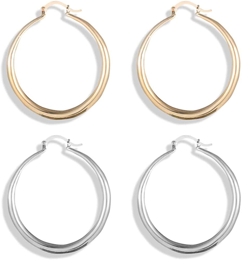 2 Pairs Stainless Steel Hoop Earrings Set Silver Gold Circle Cute Round Huggie Earrings for Women Men Girls Teens