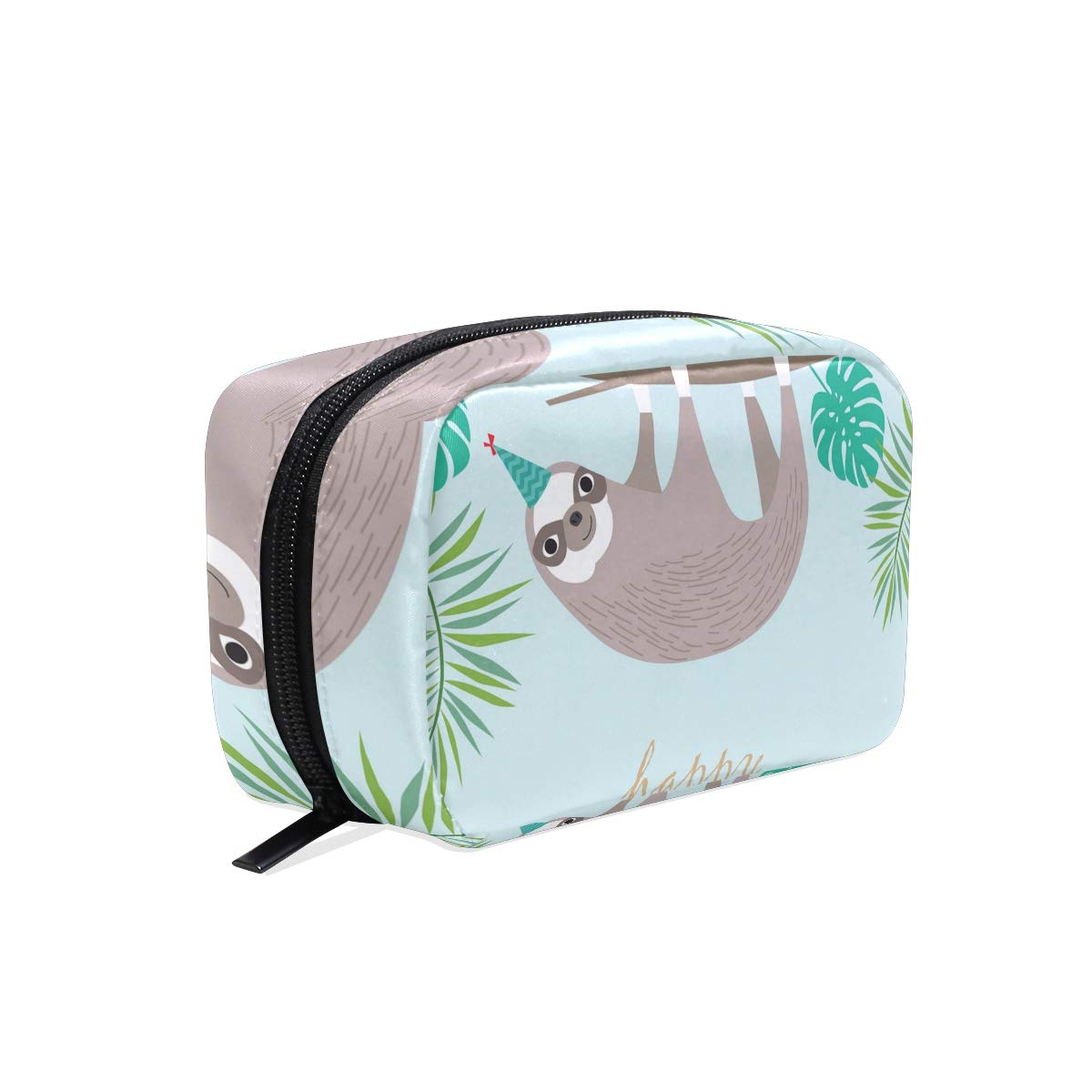 Makeup Bag Portable Travel Cosmetic Bags Happy Birthday Sloth Storage Bag for Women Skincare Makeup Train Case