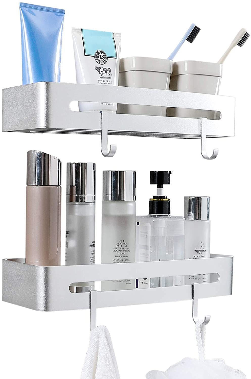 Homde Shower Shelf for Bathroom 2-Pack Shower Caddy No Drilling Wall Mounted Bathroom Shelf Aluminum Rustproof Rack for Bathroom Kitchen with 4 Removable Hooks