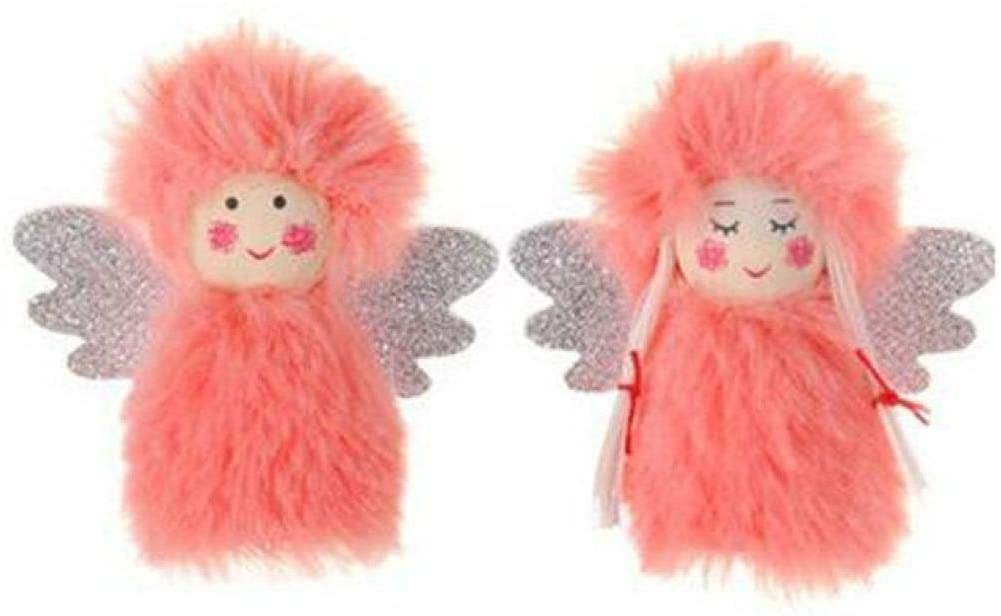 Zerbueate 2PC Christmas Plush Angel Doll Pendant,Boy and Girl Suit Plush Doll Christmas Hanging Decorations (2, Pink)