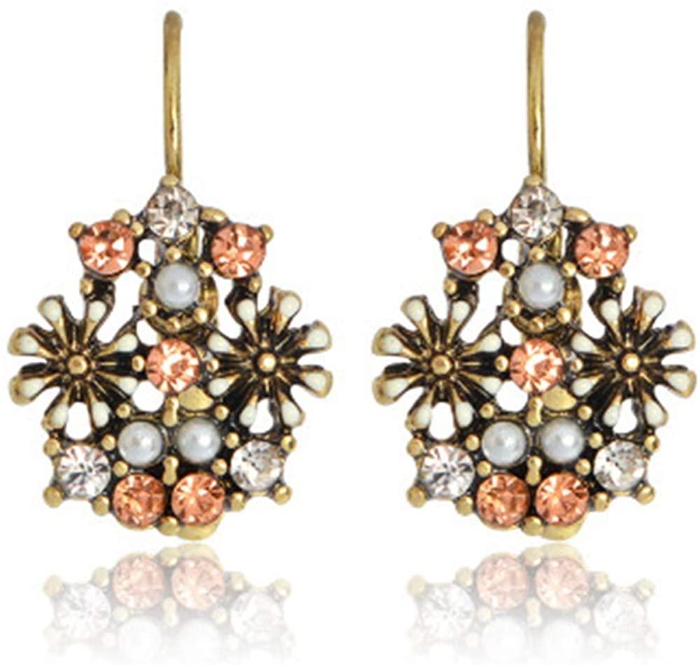Gmillions Happiness Bohemian Pendant Dangle Earrings for Women Vintage Tear of Flower Drop Earrings