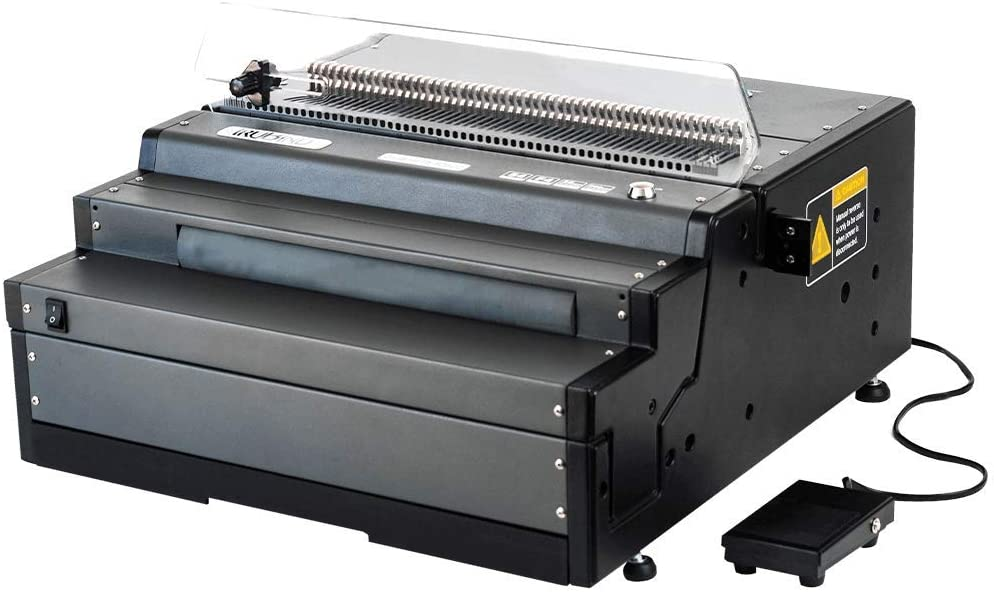 TruBind Spiral Coil Punch & Binding Machine - 4:1 Pitch Oval Holes - Electric Punch & Electric Coil Inserter - 25 Page Punch Capacity - Heavy Duty