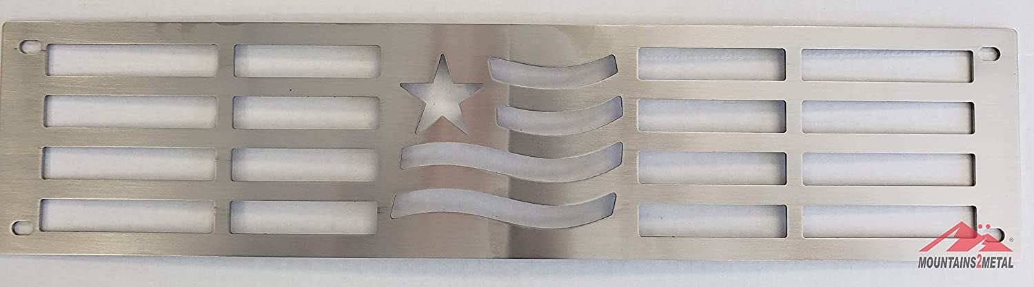 Mountains2Metal Merica Edition Brushed Stainless Steel Bumper Grille Insert Compatible with 2015-2019 Chevy Silverado 2500 3500 HD M2M #400-80-3