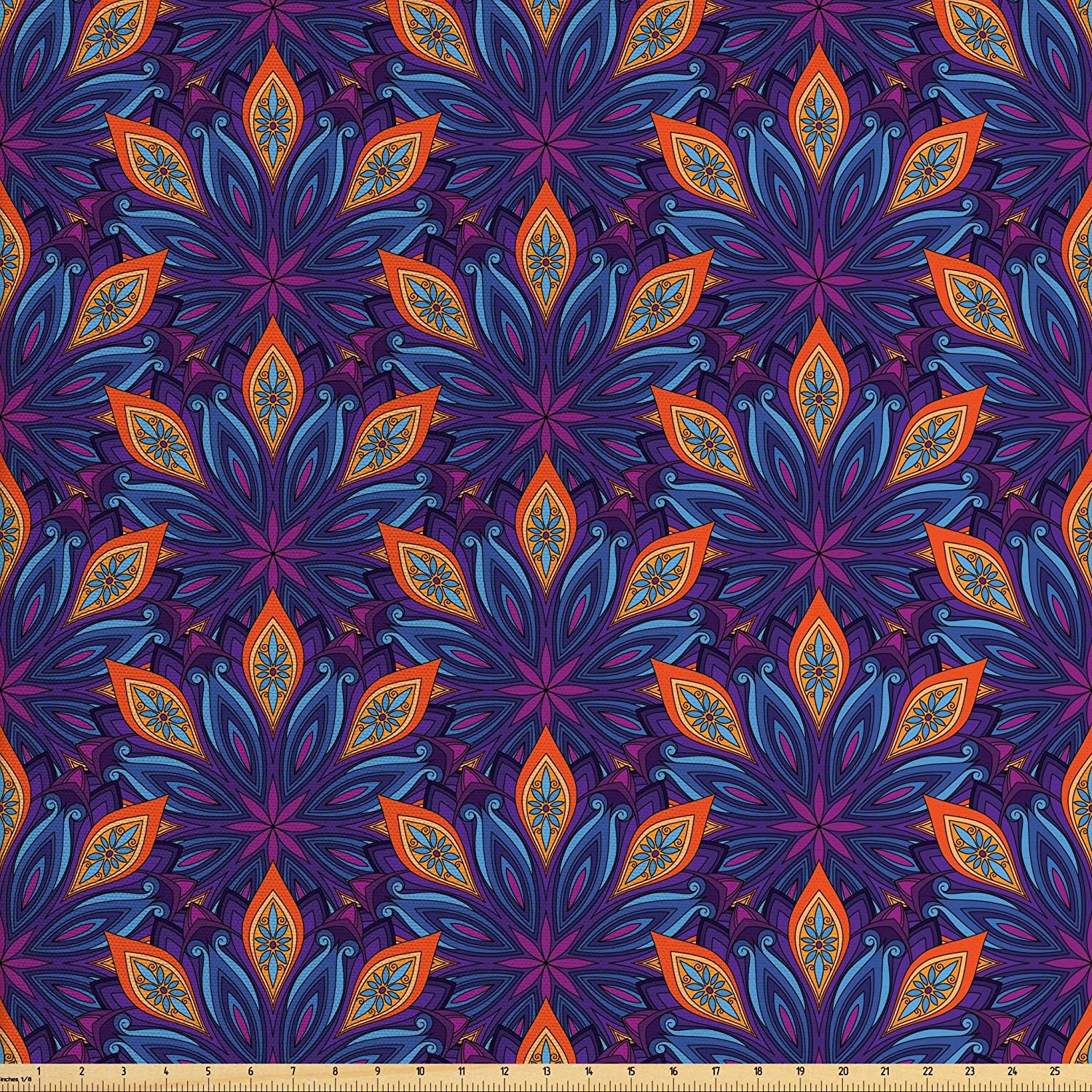 Ambesonne Mandala Fabric by The Yard, Vibrant Colored Floral Pattern Eastern Style Vintage Art Desin Print, Decorative Fabric for Upholstery and Home Accents, Orange Pale Blue Purple