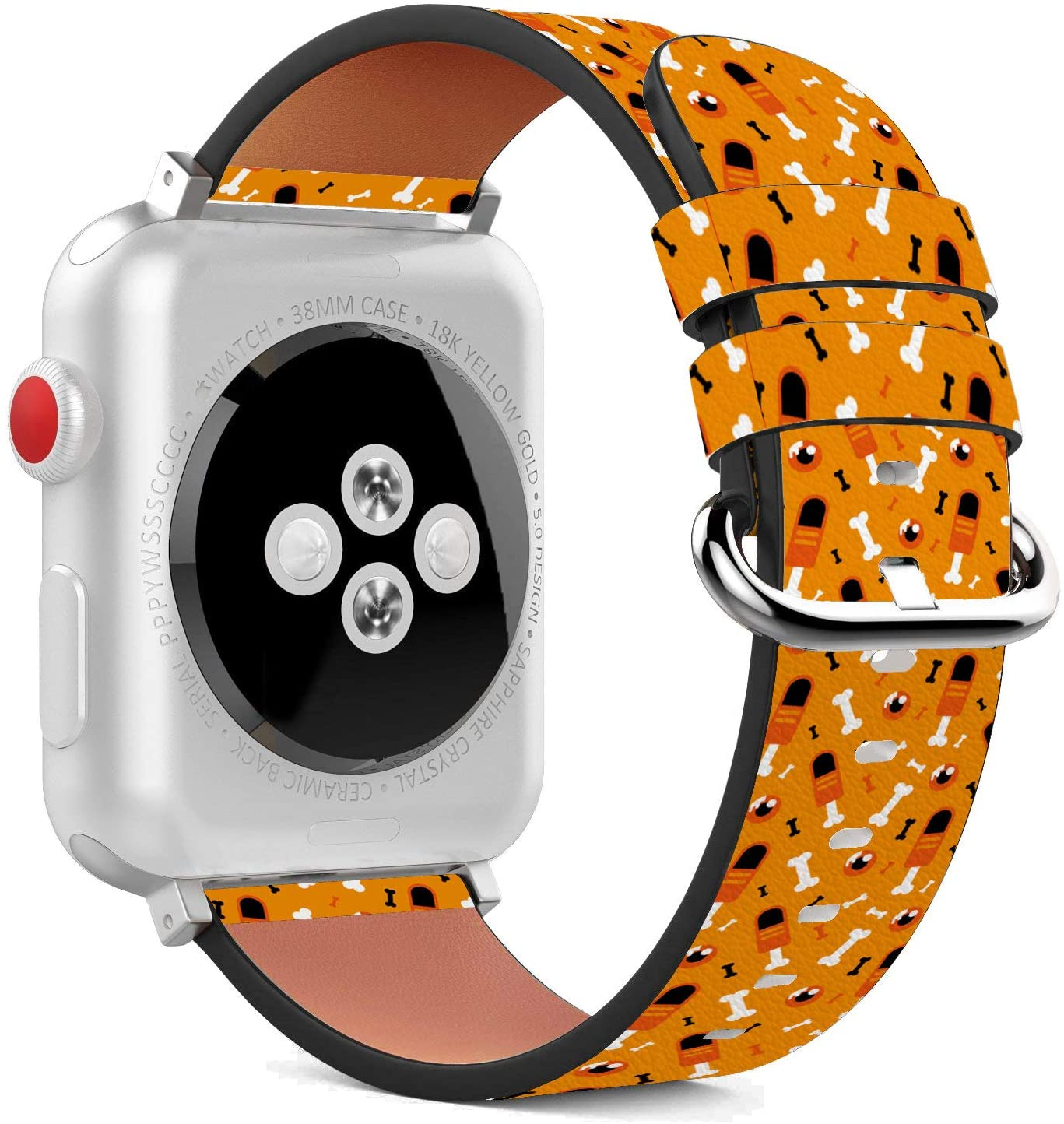 Compatible with Apple Watch - 42mm / 44mm (Serie 5,4,3,2,1) Leather Wristband Bracelet with Stainless Steel Clasp and Adapters - Halloween