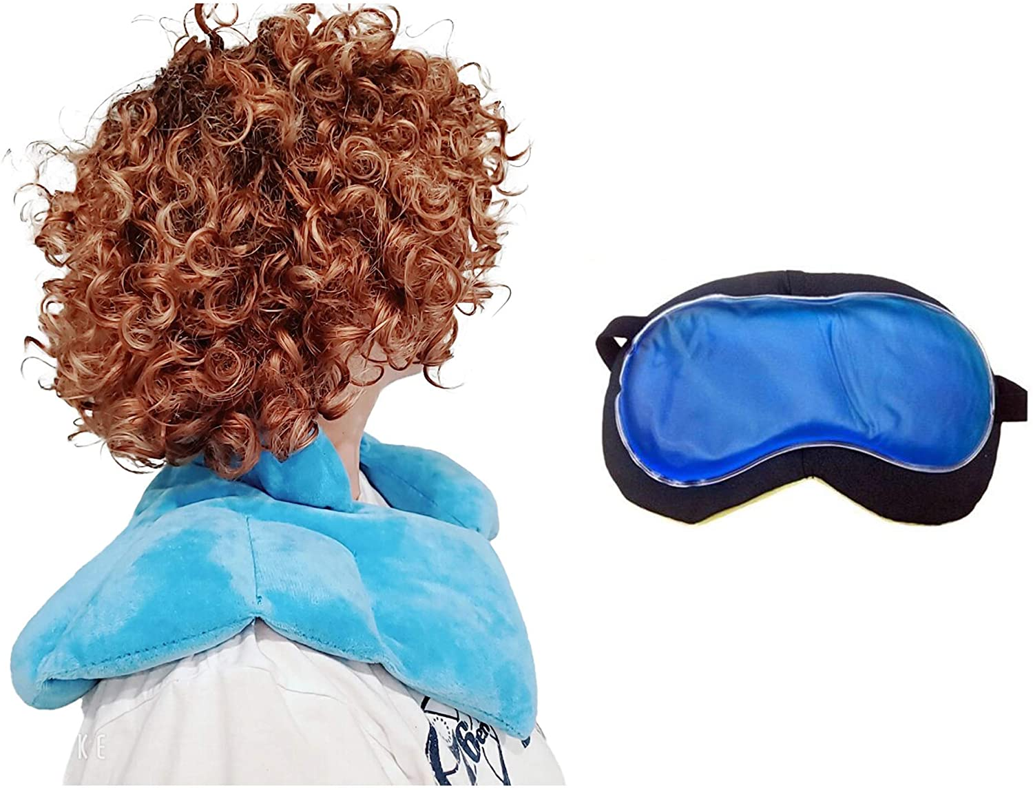 Neck and Shoulder Wrap with Gift, Microwavable/Freezable Heating Pad for Neck Pain Relief, Shoulder Pain Relief, Migraine, Use Hot or Cold (with Gel Eye Pad)