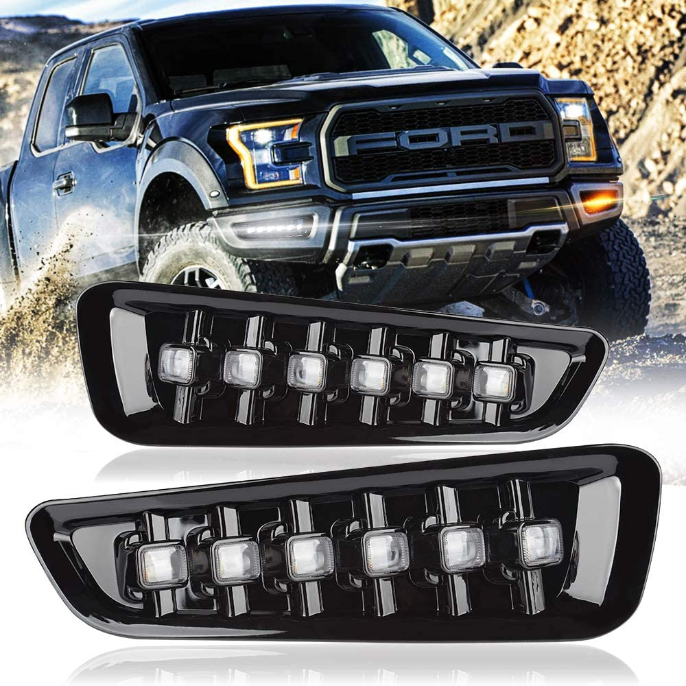 UPGRADED 6LED DRL for Ford F150 Raptor, MIHAZ Triple Colors w/Switchback Sequential Turns Daytime Running Lights for 16-19