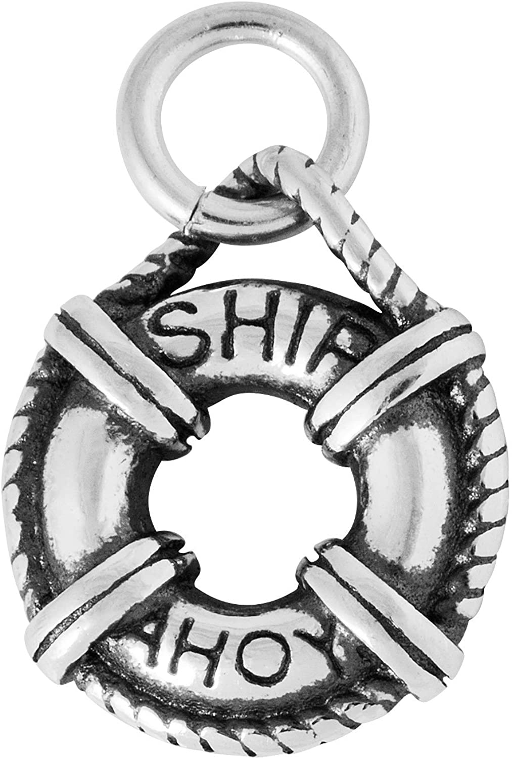 Sterling Silver Charm Bracelet With Attached 3D Cruise Ship Life Preserver Flotation Buoy Ring Charm