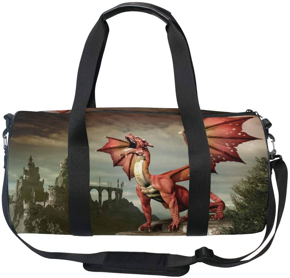 Sports Gym Bag Duffle Bag Dragon Pattern Travel Luggage for Men Women