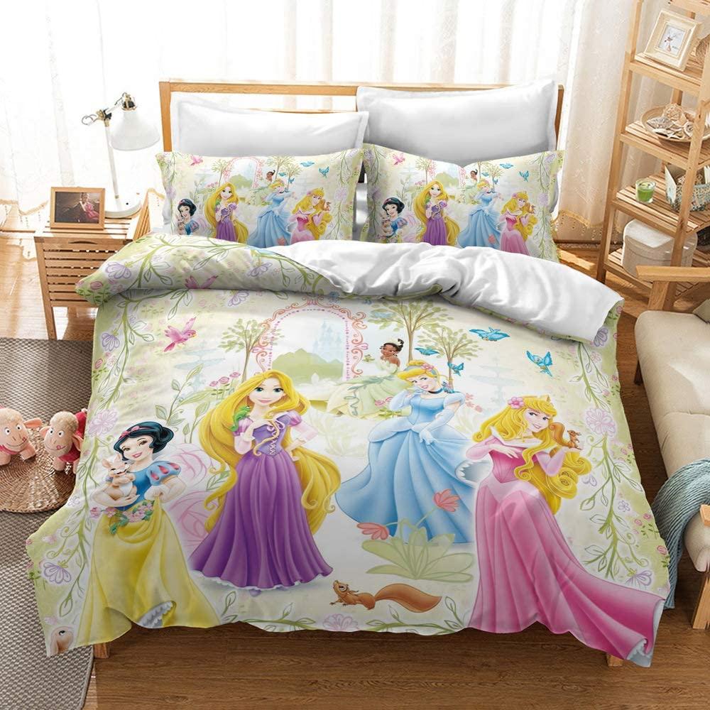 Kelli Kelly Disney Princess Grils Duvet Cover Set Twin,2 Pieces 3D Animation Printed Bedding Set,Soft Microfiber Comforter Cover Bed Set BD21-P05-T