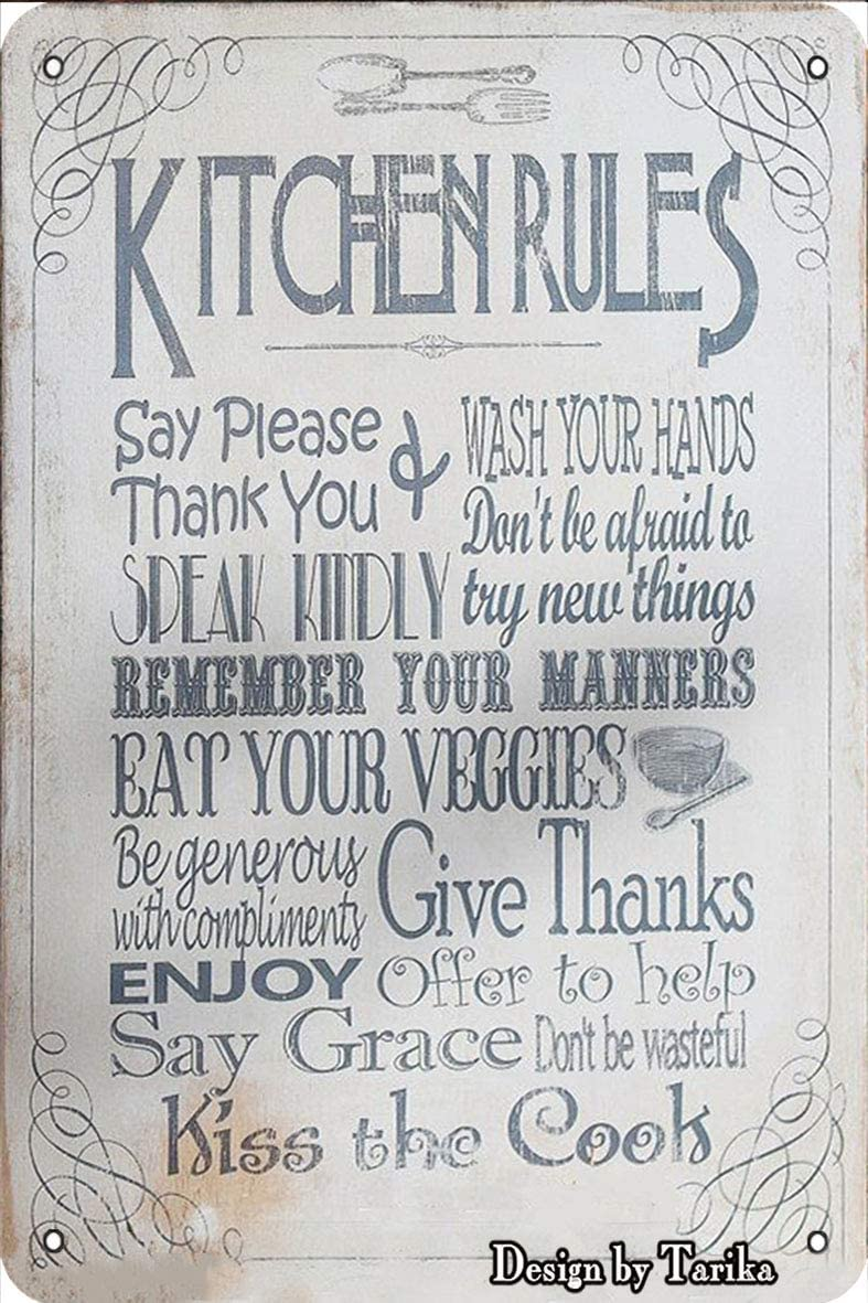 Kitchen Rules Say Please Thank You Eat Your Veggies Tin Vintage Look 8X12 Inch Decoration Art Sign for Home Kitchen Bathroom Farm Garden Garage Inspirational Quotes Wall Decor