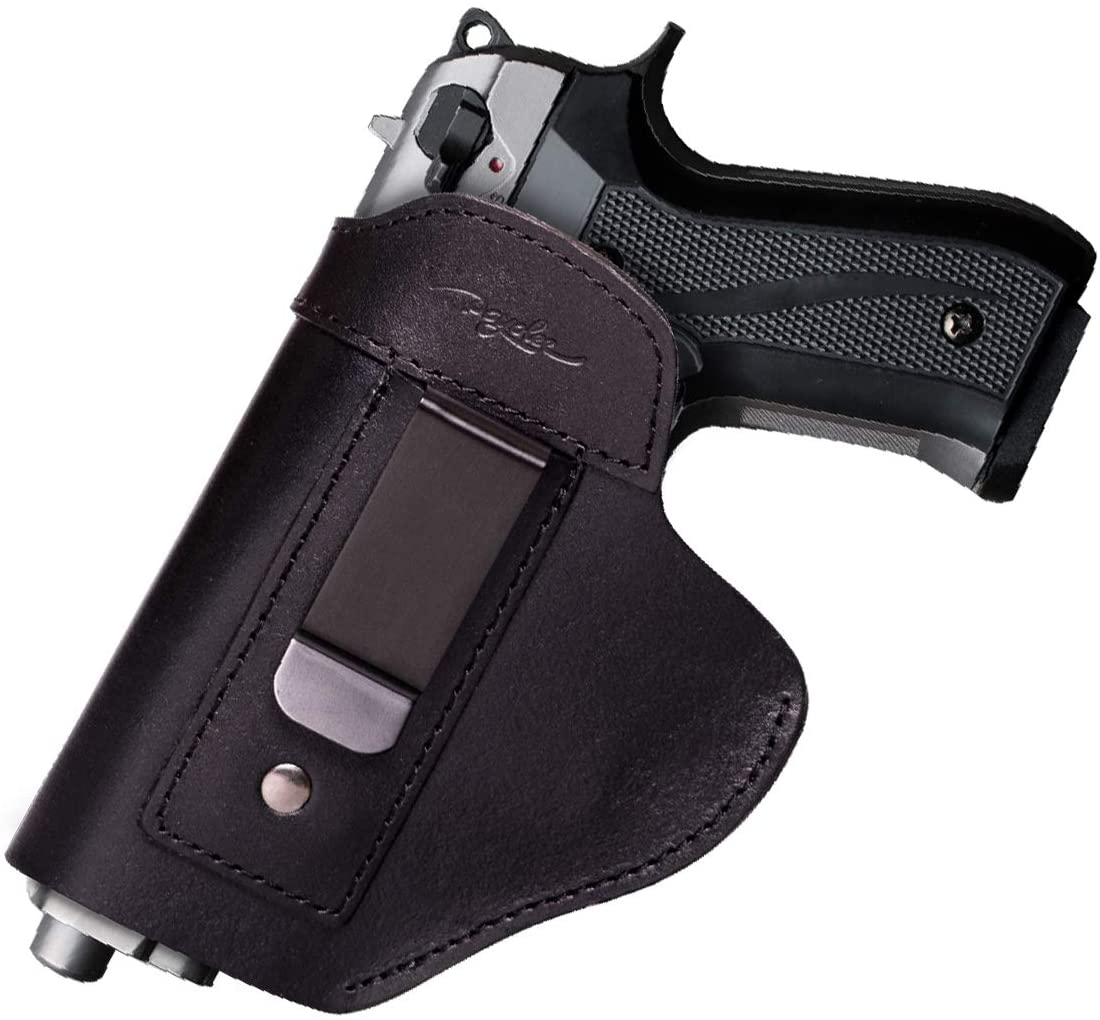 POYOLEE Gun Holster for Concealed Carry Leather IWB Holsters for Men Fits S&W M&P Shield Glock 17 19 26 43 Springfield XD XDS XDM Plus All Similar Sized