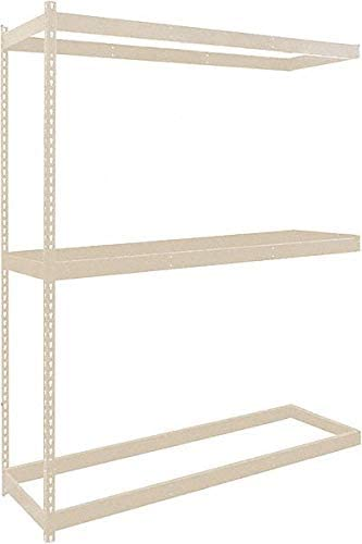 Add-On Boltless Shelving with None Decking, 3 Shelves, 48