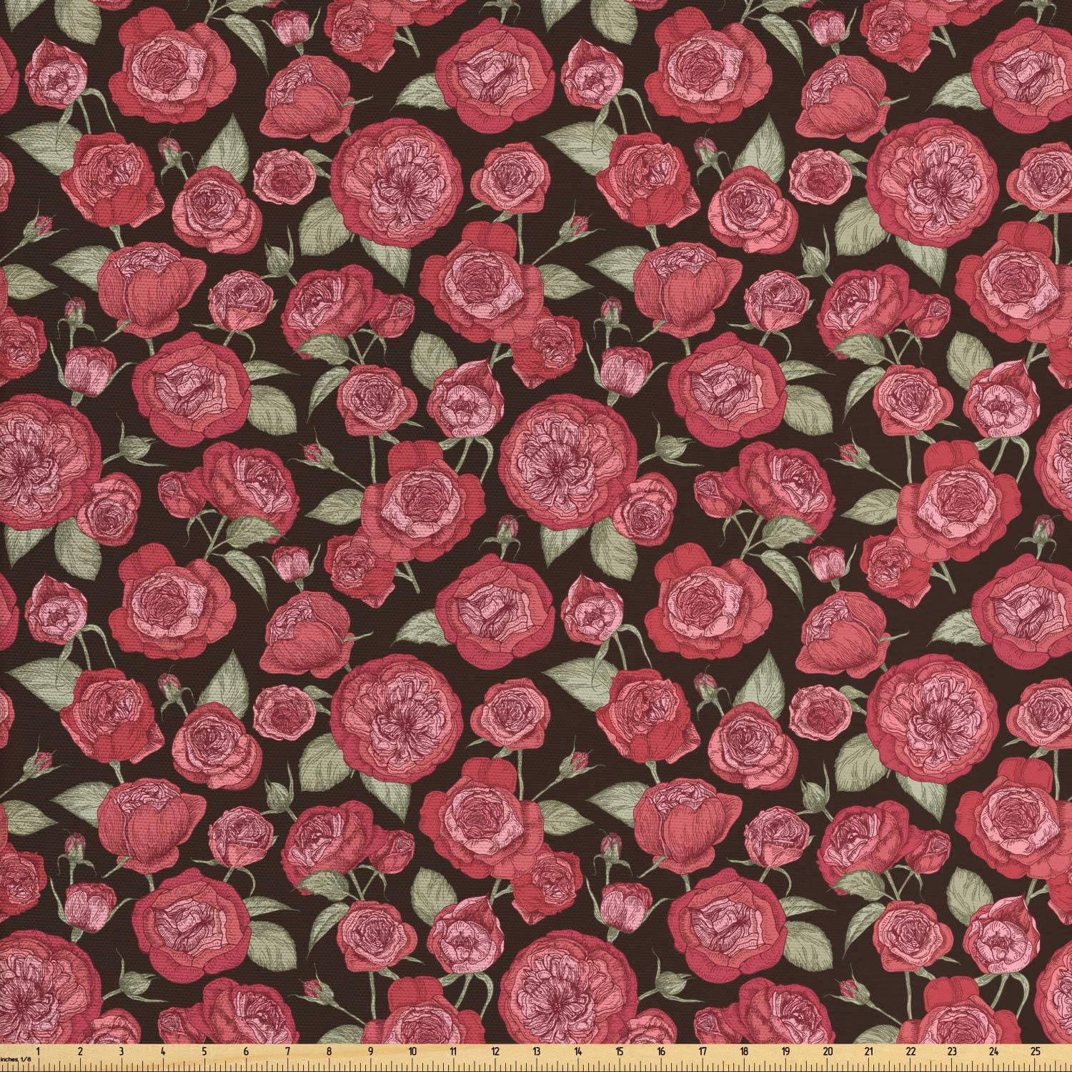 Ambesonne Vintage Rose Fabric by The Yard, Repetitive Flowers and Leaves Nature Tones Pattern, Decorative Fabric for Upholstery and Home Accents, 1 Yard, Dark Taupe Pale Ruby