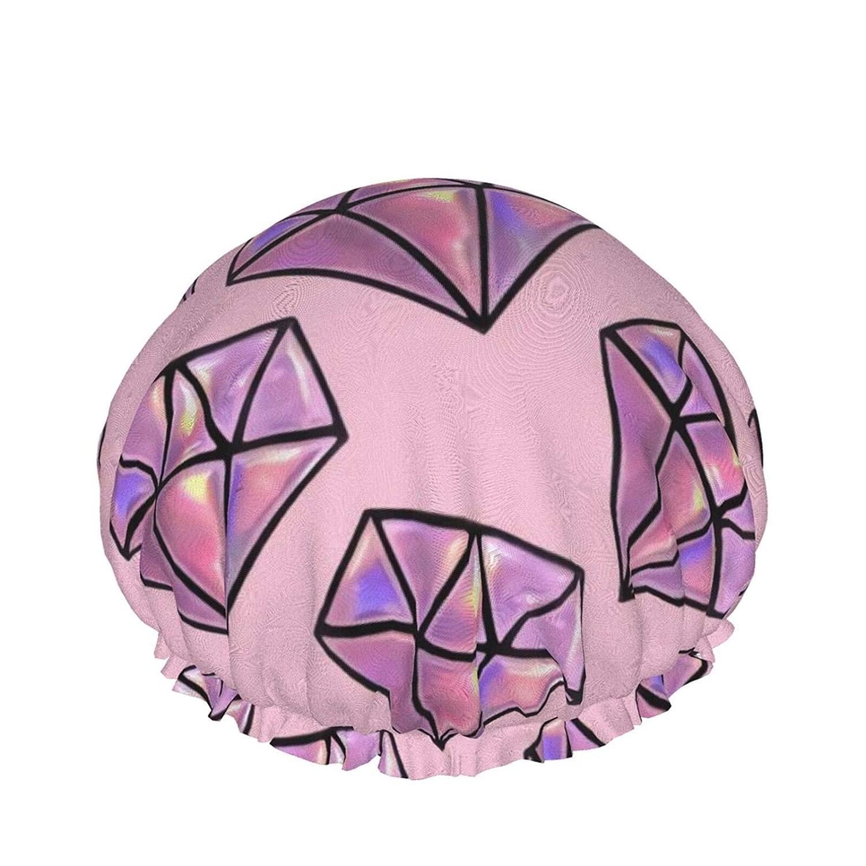 Pink Diamond Pattern Waterproof Shower Caps, Reusable Elastic Bathing Hair Cap, Adjustable Bath Caps for Women Men Girls, Hair Spa, Home Hotel Travel Use