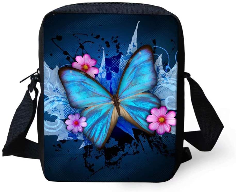 Forchrinse Blue Butterfly Messenger Bag Satchel Shoulder Bag Mini Lightweight Crossbody Bag for Girls Women School Travel