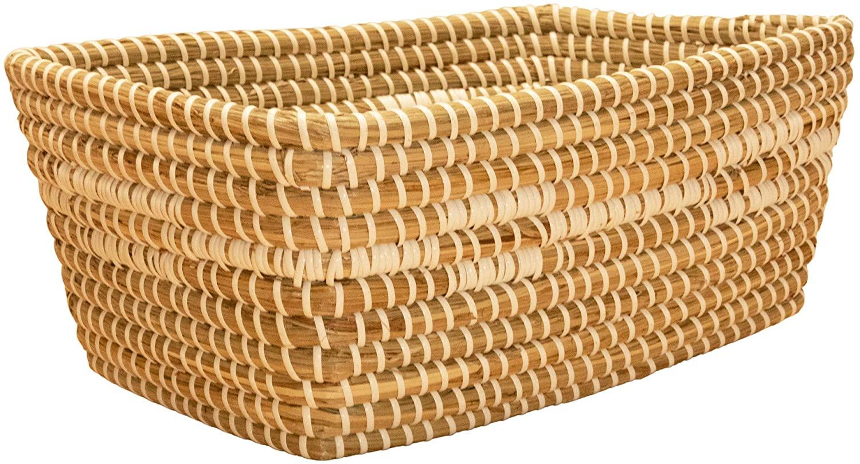 Modern Village Storage Baskets, Seagrass Bins 14 Inches (White)