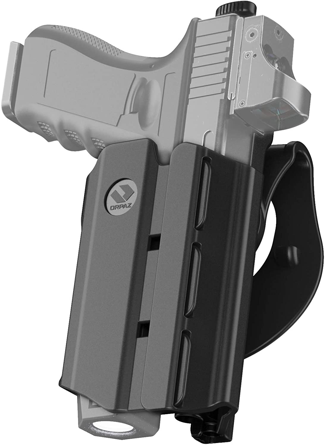 Orpaz Glock 30 Holster with Light, Glock 30 Light Bearing Holster with Paddle Attachment Compatible with Glock 30 Light/Laser/Sight/Optics
