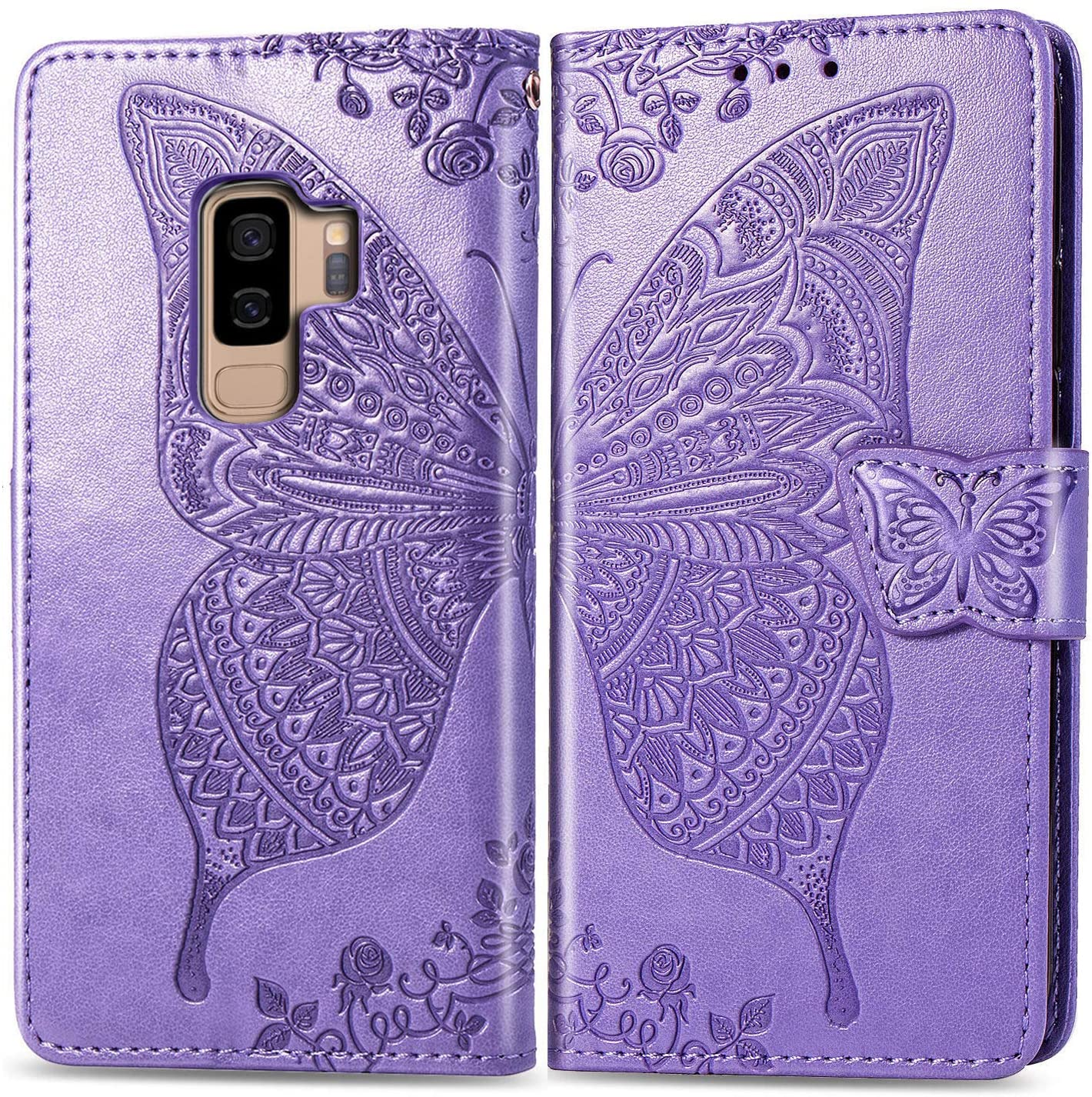 Ropigo Samsung Galaxy S9 Plus Wallet Case | Emboss Butterfly | Magnetic Closure | Kickstand | Wrist Strap | Compatible with Galaxy S9 Plus Lavender