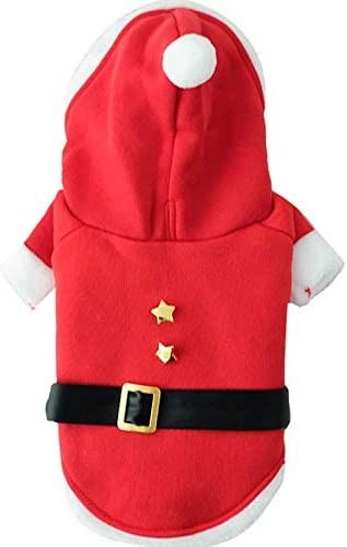 Molly & Gail's Pet Costume for Christmas Pet Hoodie for Dog and Cat Santa Claus Cosplay for Puppies and Kitties Autumn and Winter Pet Cloth