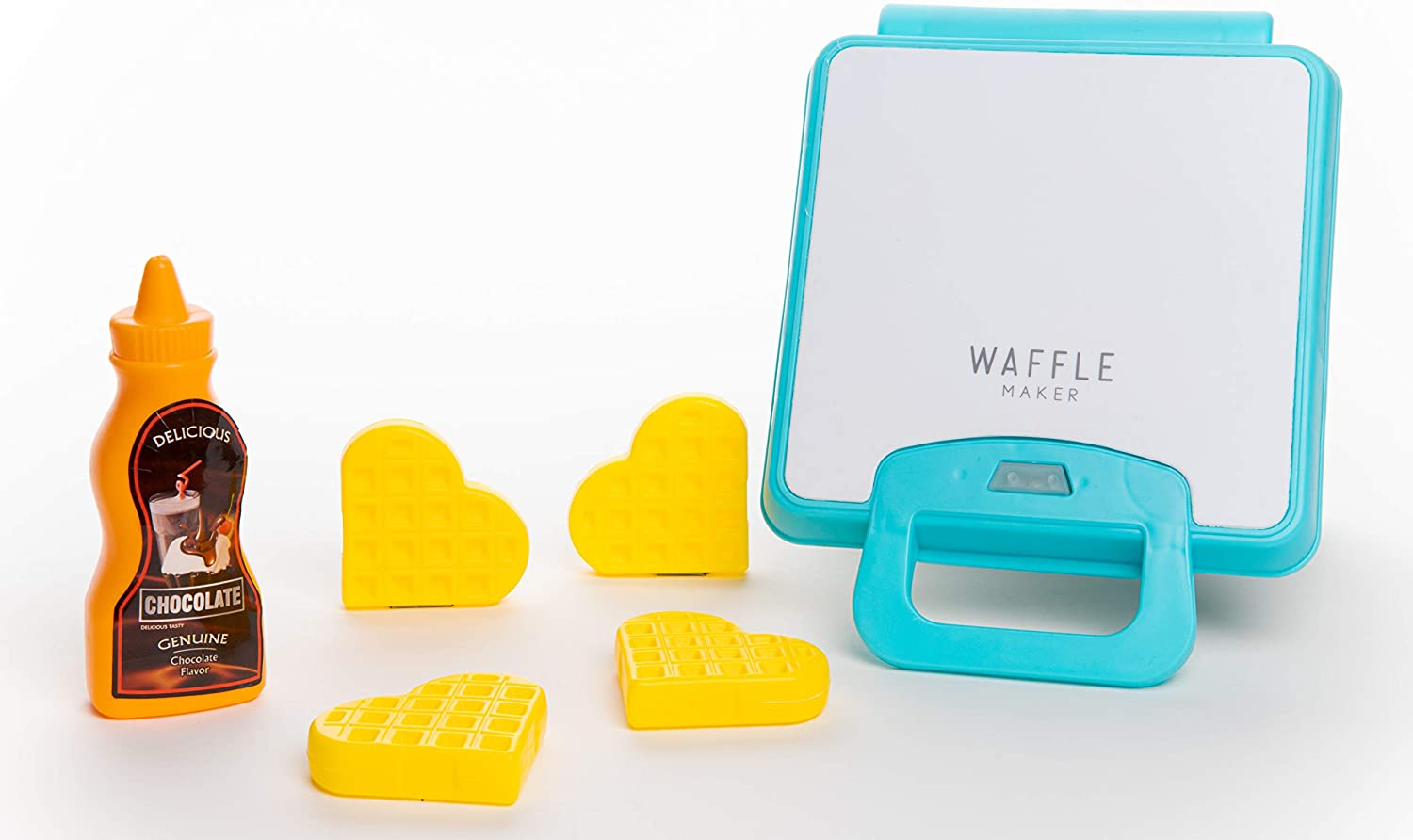 Toy Chef Toy Waffle Maker – Toy Kitchen Products for Kids – Interactive Pancake Game – Educational Waffle Maker Set for Boy and Girls – 6 Pieces Toy Waffle Maker Set with Syrup and Waffles