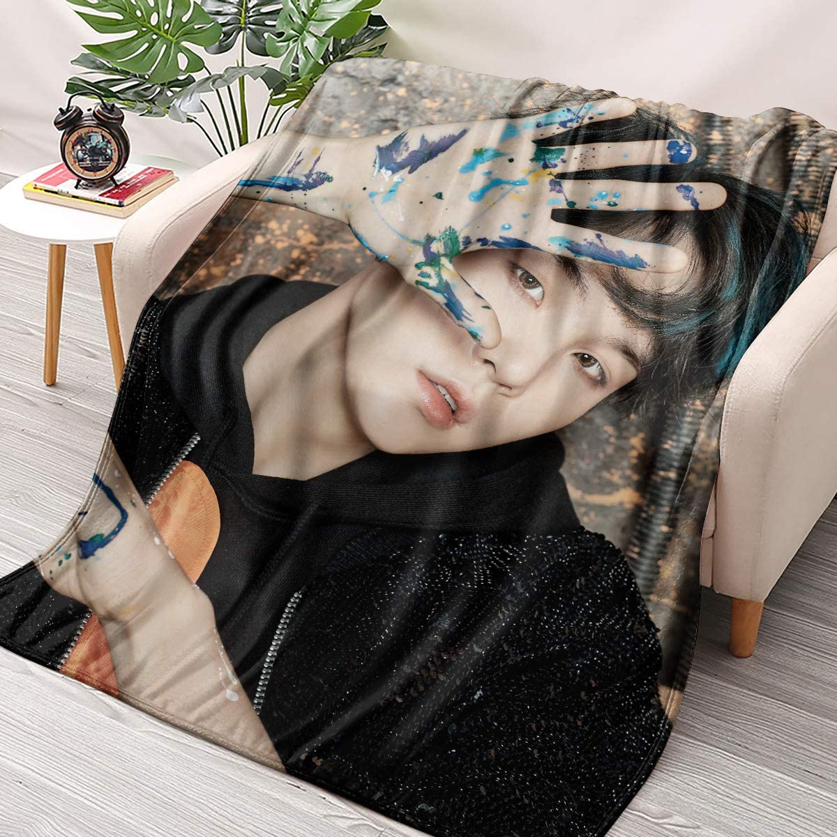 NBBZ Kpop BTS Suga Flannel Throws Blankets Couch Sofa Fuzzy Blanket for Traveling Camping Home (70