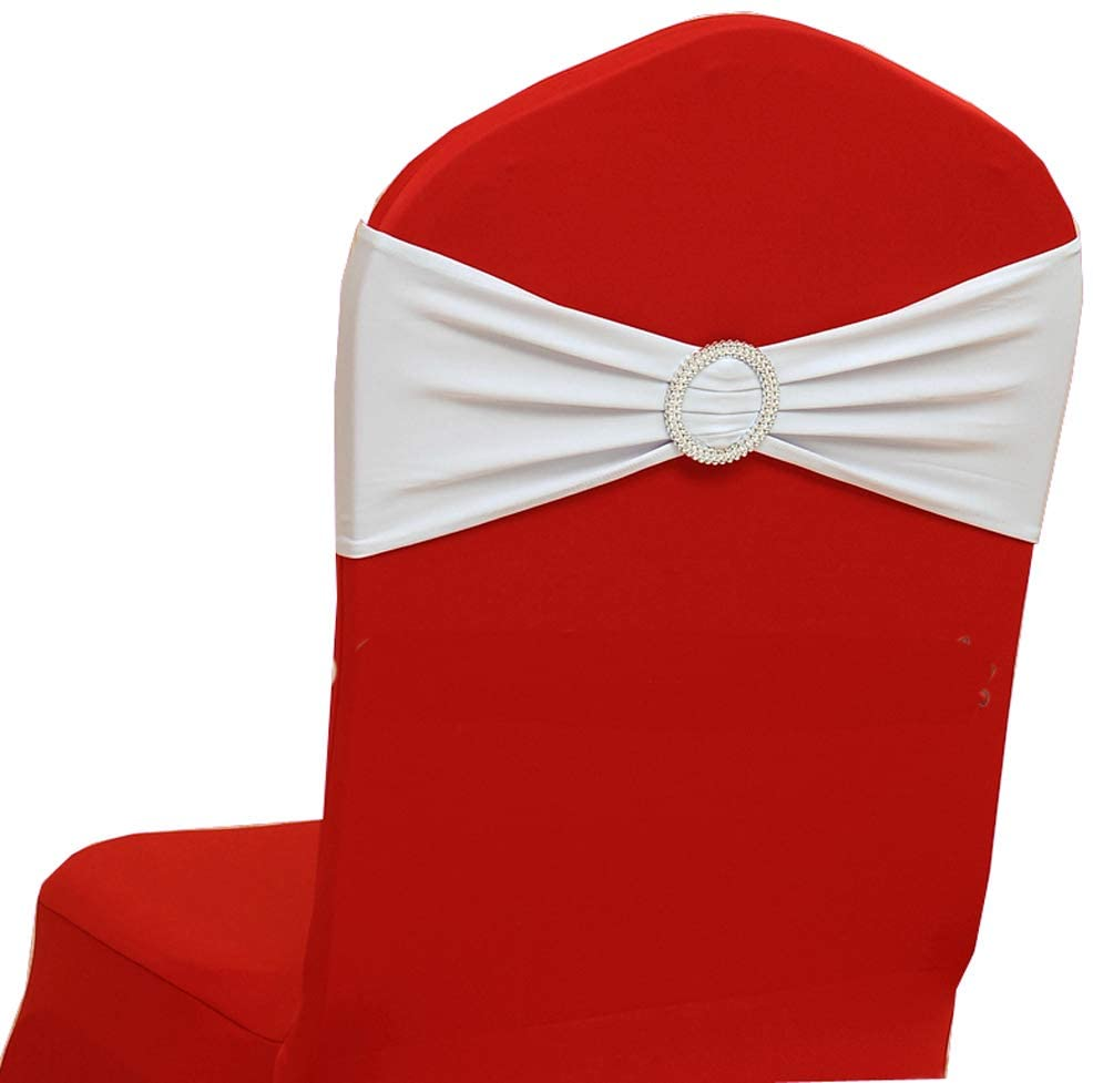 VDS Spandex Chair Sashes Bows Elastic Chair Bands with Buckle Slider for Wedding Banquet Party Event Decoration (Pack of 100) White